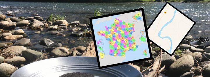 pan au bord de la rivière avec carte de france des lieux aurifères