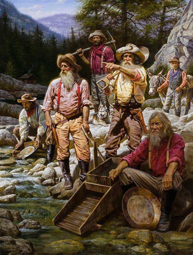 dessin des pionniers americain sur le california river