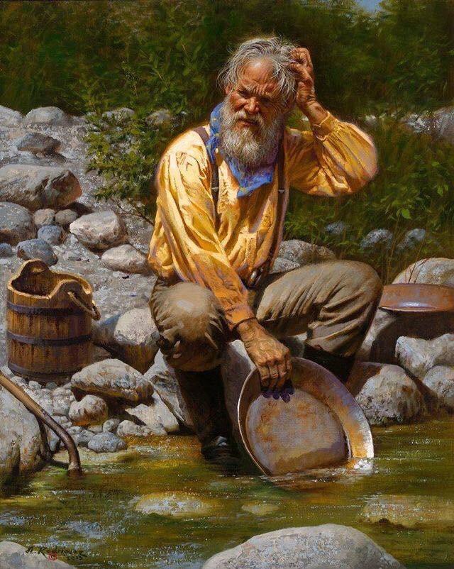 pionnier californien à la recherche d'or