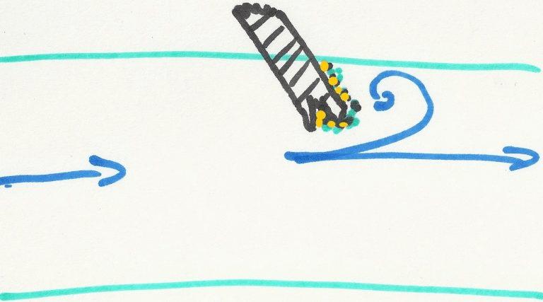dépôt or derrière un obstacle en bord de berge