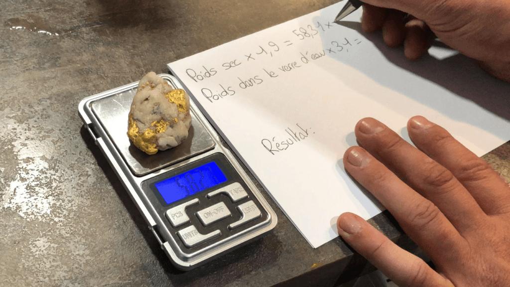 mise en place du calcul du poids d'or