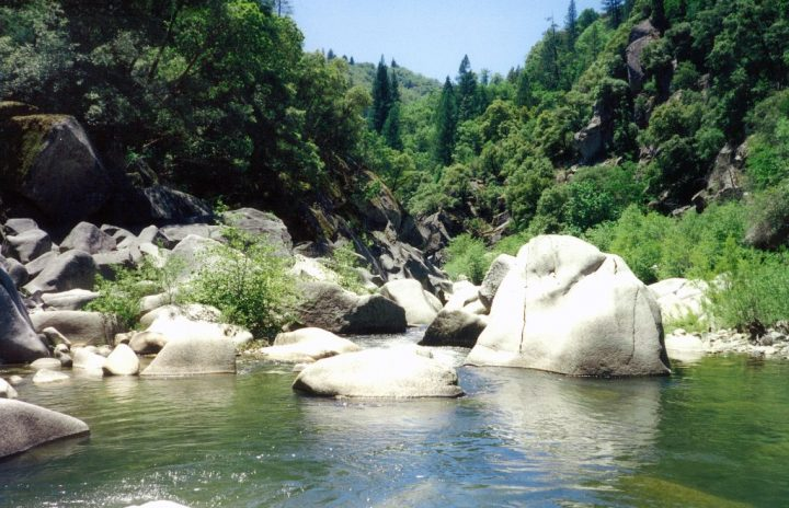 riviere en boulder dans une zone de torrent