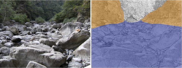 zone de friction élevé favorisant le dépot de boulder
