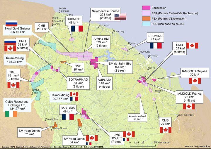 carte des industriel minier en Guyane