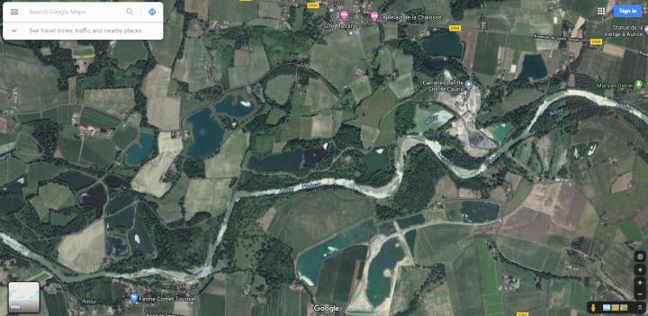 vue satellite pour faire de la prospection aurifère